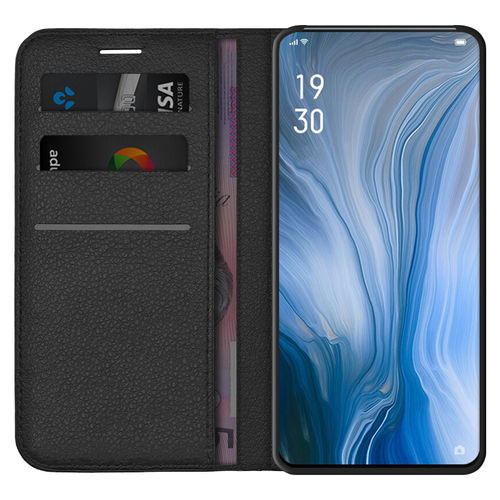 Leather Wallet Case & Card Holder for Oppo Reno 5G / 10x Zoom - Black